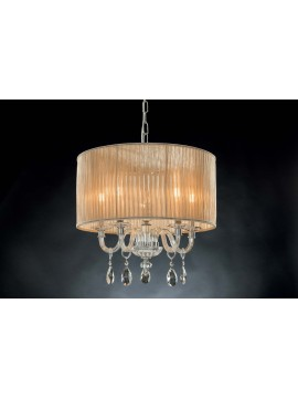 Classic chandelier in crystal 5 lights Design Swarovsky Lucy dove gray