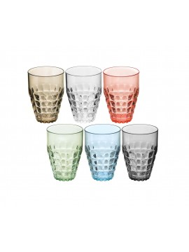 Set of 6 tall glasses of the modern Guiffini Multicolor Tiffany