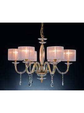 Classic chandelier in crystal 6 lights Design Swarovsky Nikita gold
