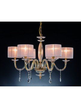Lampadario classico in cristallo 6 luci Design Swarovsky Nikita oro