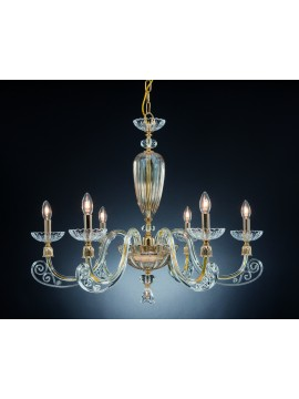 Classic chandelier in crystal 6 lights Design Swarovsky Sofia amber