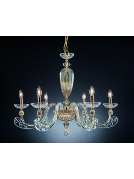 Lampadario classico in cristallo 6 luci Design Swarovsky Sofia ambra
