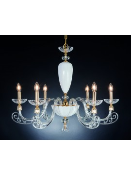 Classic 6 lights crystal chandelier Design Swarovsky Sofia white