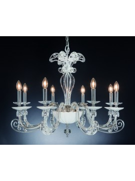 Modern chandelier in 8 lights Crystal Design Swarovsky Angy white