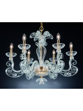 Classic chandelier in crystal 6 lights Design Swarovsky Dafne gold