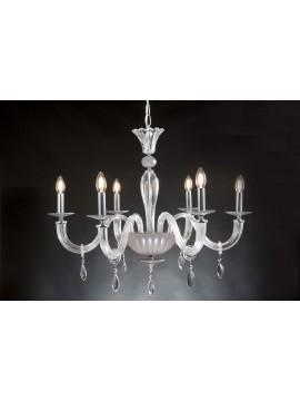 Modern chandelier in crystal 6 lights Design Swarovsky Lara dove gray