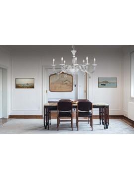 Lampadario moderno ovale in cristallo 8 luci Design Swarovsky Lara bianco