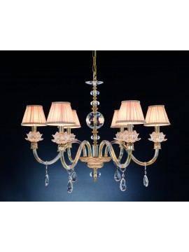 Classic chandelier in crystal 6 lights Design Swarovsky Arabella gold