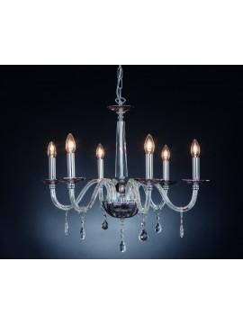 Lampadario moderno in cristallo 6 luci Design Swarovsky Marò fumè