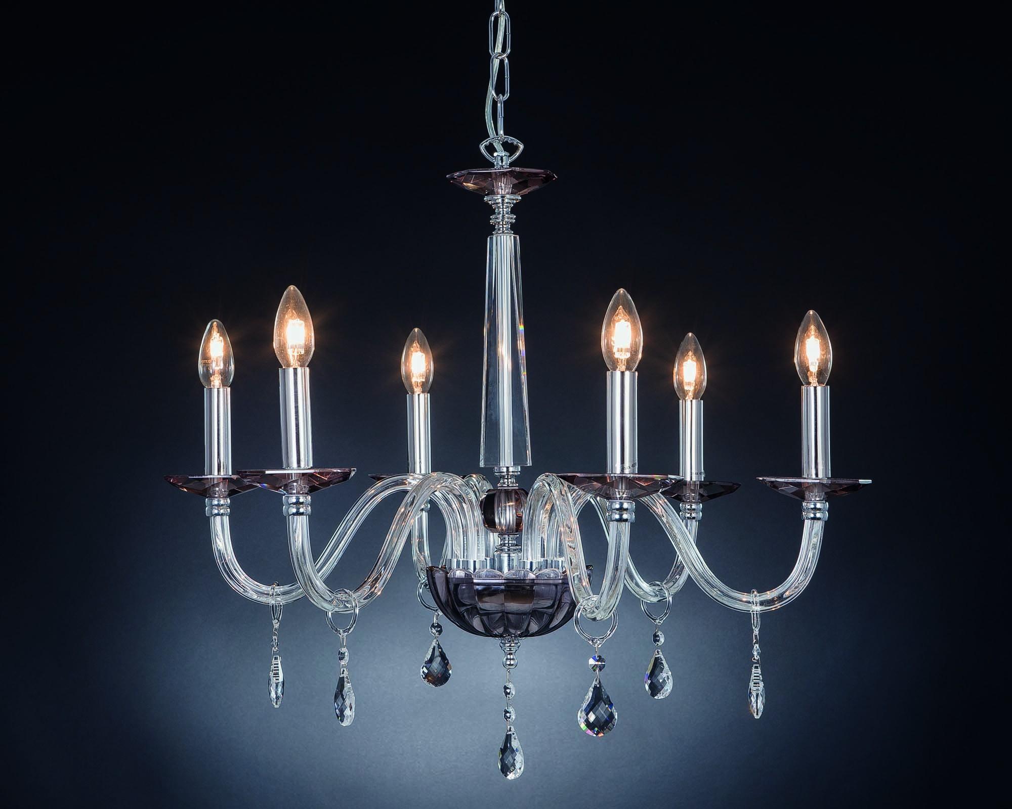 Lampadario moderno in cristallo luci design swarovsky marò fumè