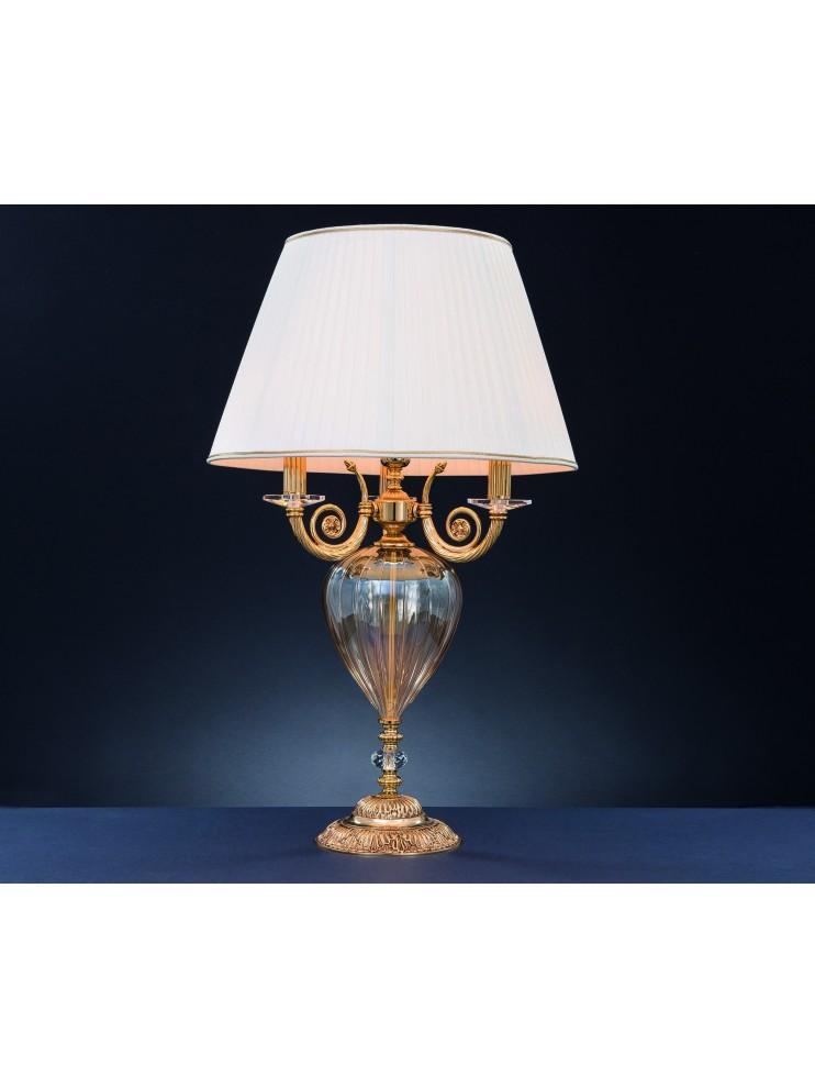 Lume grande classico in ottone oro francese e cristallo 4 luci Swarovsky Lipari
