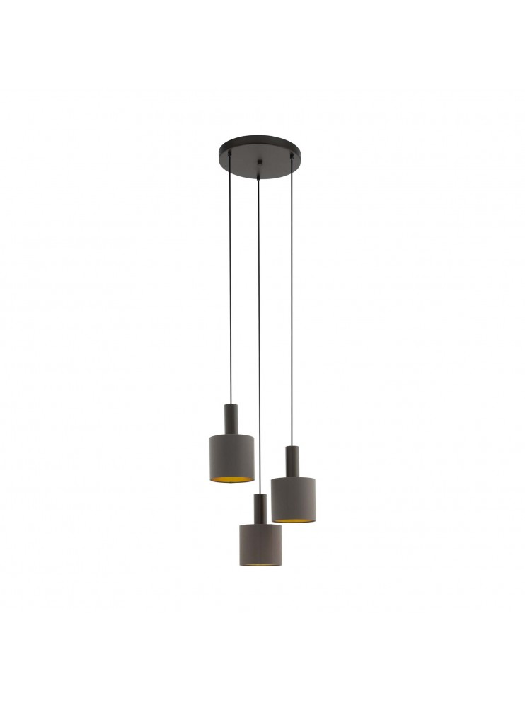 Modern design chandelier in dove gray fabric 3 lights GLO 97684 Concessa 1