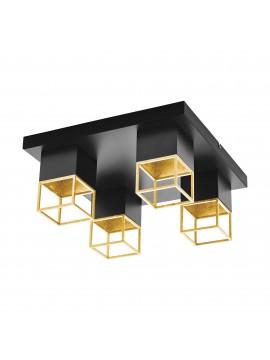 Plafoniera moderna a led nero e oro 4 luci GLO 97731 Montebaldo