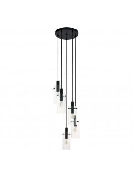 Lampadario moderno design nero 5 luci GLO 97368 montefino