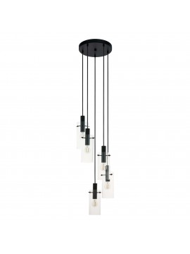 Modern design 5 lights black chandelier GLO 97368 montefino
