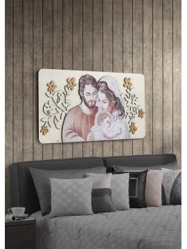 Capezzale quadro moderno sacra famiglia 119x59 in legno laser M3