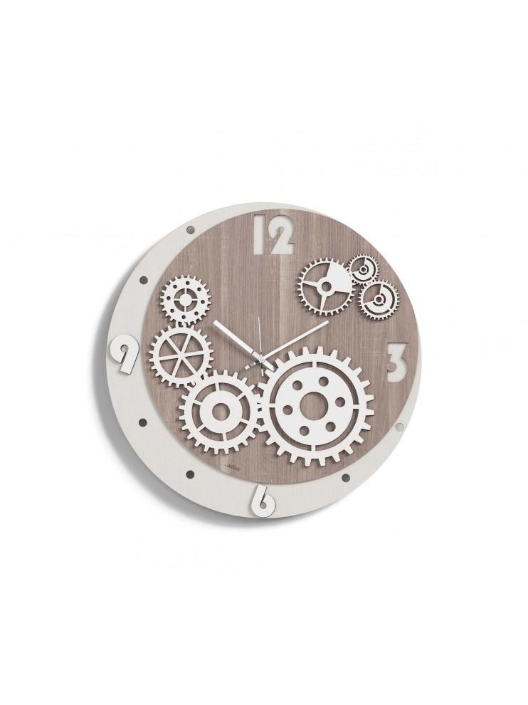 Orologio da parete moderno ingranaggi D.50 legno taglio laser M8