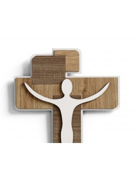 Wall crucifix modern design wooden stylized 30x40 Laser CR630