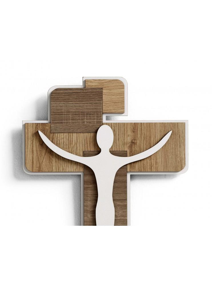 Crocifisso da parete in legno laser design moderno stilizzato 30x40 CR630