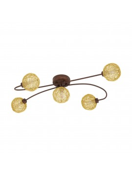Classic brown interweaving ceiling light 5 lights glo 97727 caris1