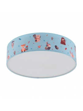 Children's bedroom ceiling lamp in colored fabric 2 lights GLO 97575 Ruffo