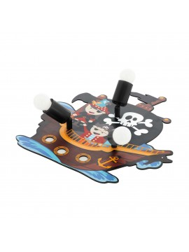 Children's room ceiling lamp pirate colored wood 3 lights GLO 97408 San Carlo