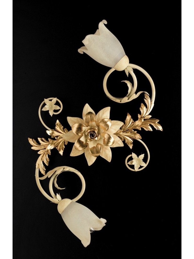 Ceiling lamp 2 lights wrought iron ivory-gold pre art. PL120 / 2