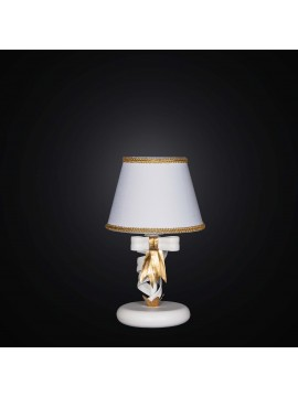 Classic table lamp in white wrought iron and gold leaf 1 light BGA 2265-lp