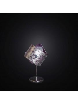 Lumetto moderno in vetrofusione foglia argento e viola 1 luce BGA 2274-lp