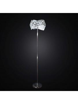 Piantana moderna in vetrofusione foglia argento 1 luce BGA 2274-pt