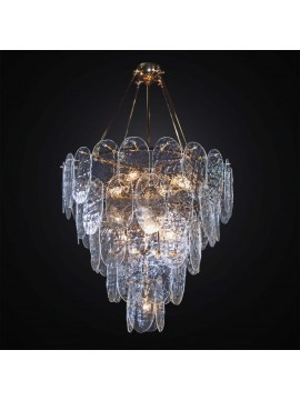 Classic gold chandelier with 60 transparent Murano glass 8 lights BGA 3019-60v