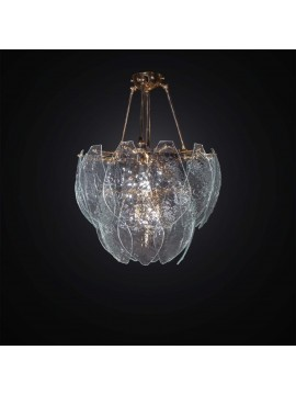 Classic gold chandelier with 23 transparent Murano glass 5 lights BGA 3020-23v
