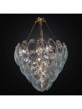 Classic gold chandelier with 56 transparent Murano glass 8 BGA lights 3020-56v