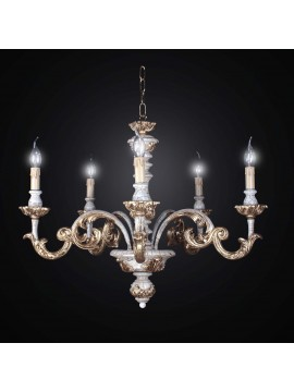 Chandelier classic wood crackle gold leaf 5 lights BGA 1479-5m