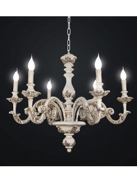 Chandelier classic old white wooden 6 Lights BGA 1479-6m