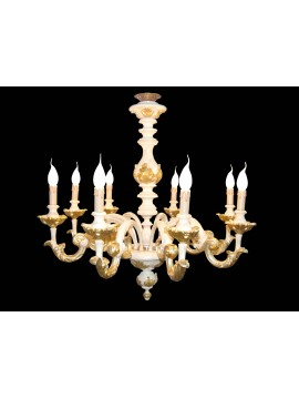 Chandelier classic wood ivory and gold leaf to 8 lights BGA 1479-8m