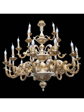 Chandelier classic wood ivory and gold leaf 21 three lights BGA plans 06/12/1479