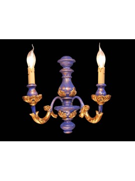 Wall light in classic blue wood and gold leaf 2 lights BGA 1479-a2