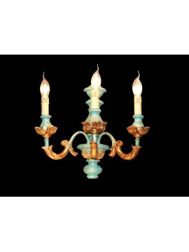 Applique in classic green wood and gold leaf 3 lights BGA 1479-a3