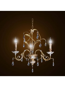 Classic chandelier in wrought iron gold-silver leaf 3 lights BGA 1595-3