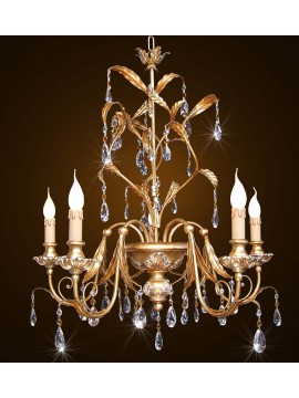 Classic wrought iron chandelier in gold-silver leaf 5 lights BGA 1595-5