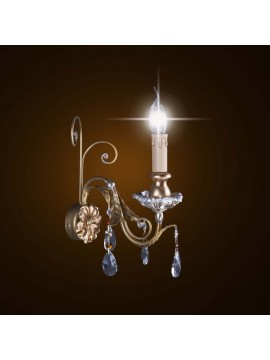 Classic wood and wrought iron wall lamp with gold-silver leaf 1 light BGA 1595-a1