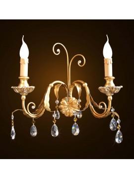 Applique classico legno e ferro battuto foglia oro-argento 2 luci BGA 1595-a2