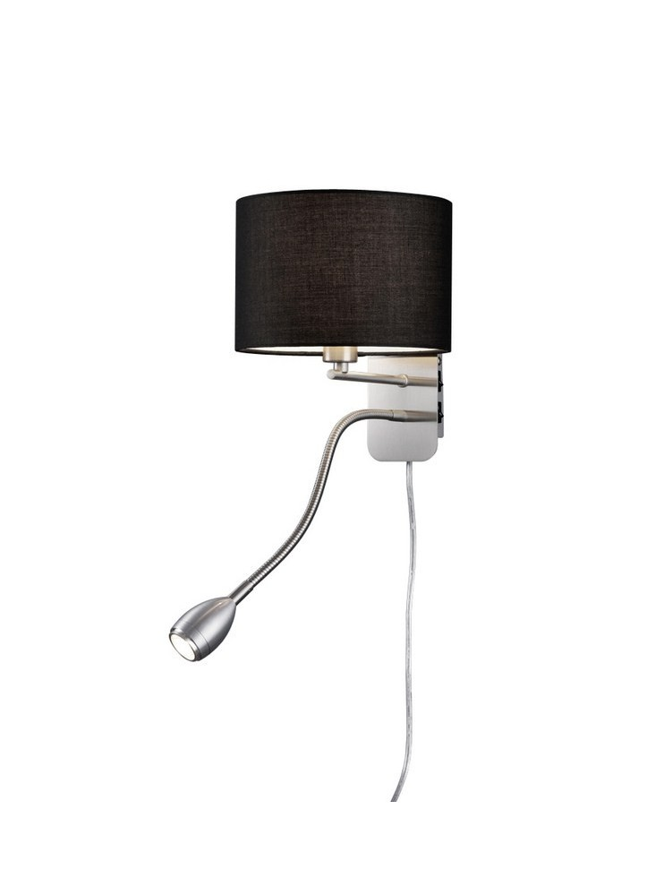 Black LED wall lamp in trio 271170202 Hotel fabric