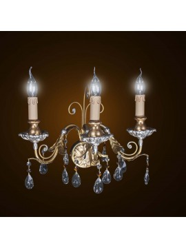 Classic wood and wrought iron gold-silver leaf 3 wall lights BGA 1595-a3