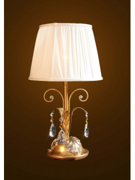 Classic table lamp in wood and wrought iron gold-silver leaf 1 light BGA 1595-lp