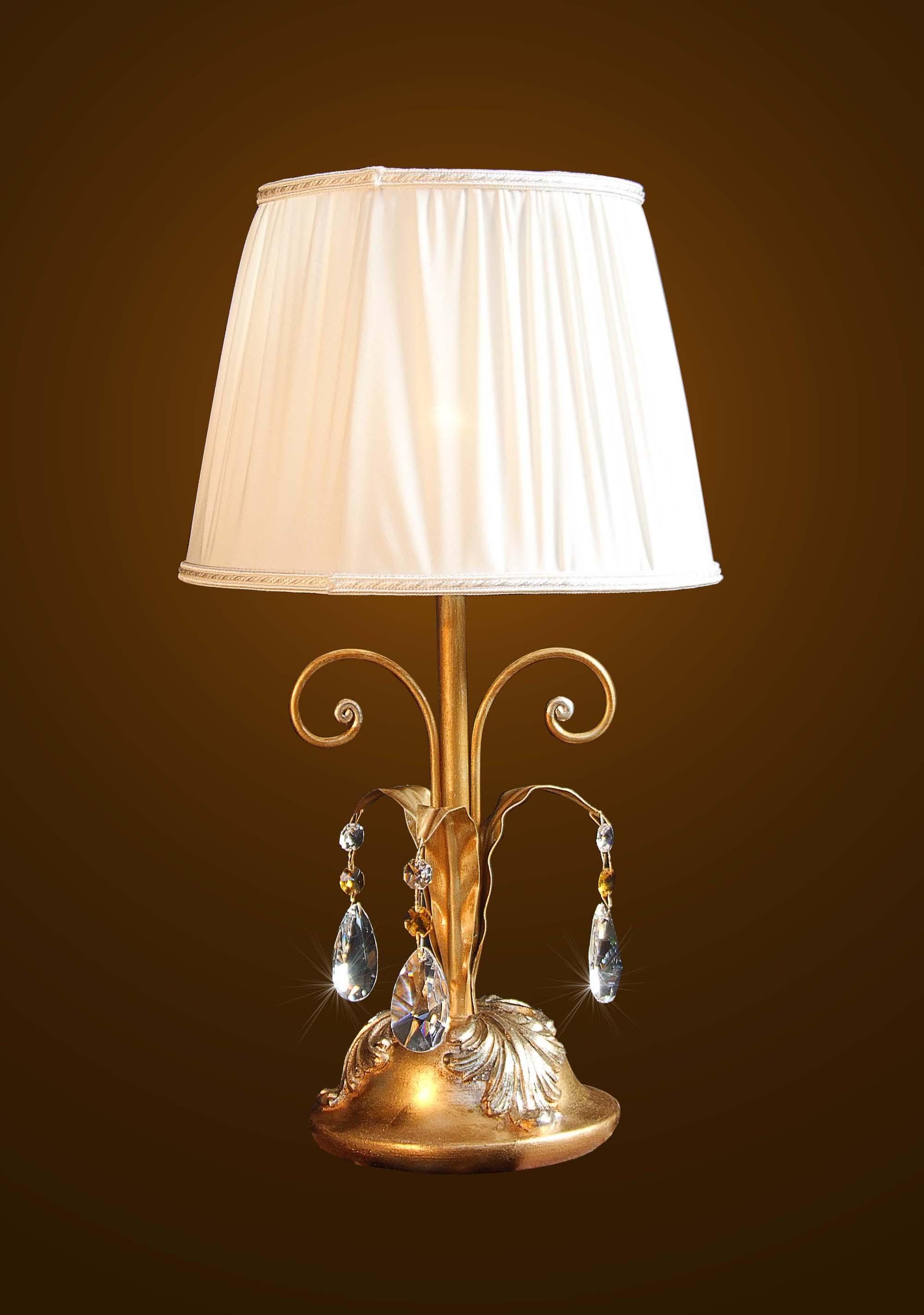 LAMPADA da tavolo vintage in VETRO LAVORATO e FERRO BATTUTO lume