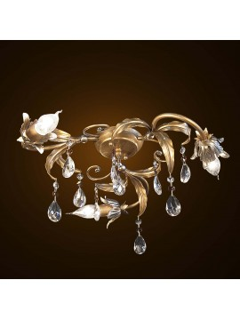 Classic wrought iron ceiling lamp with gold-silver leaf 3 lights BGA 1595-pl3
