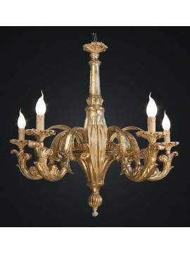 Classic chandelier in wood and wrought iron with gold and ivory leaf 5 lights BGA 1798/5