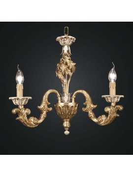 Classic chandelier in gold and ivory leaf wood 3 lights BGA 1810-3
